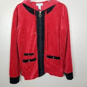Silverwear Red/Black Embellished Velour Hoodie L